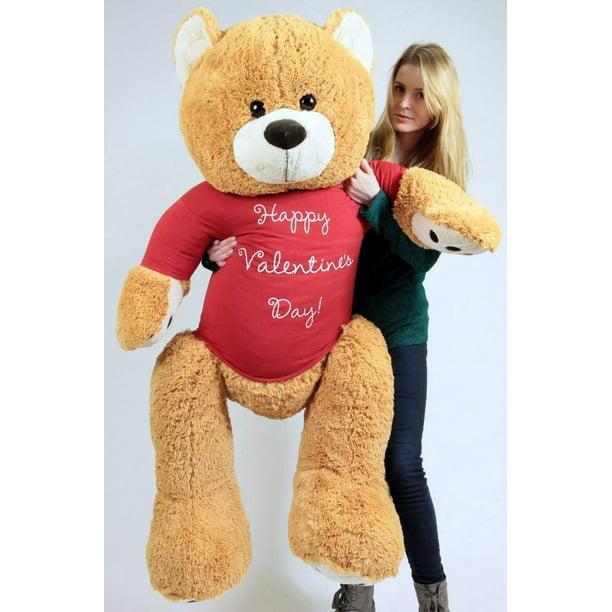Baby Net For Stuffed Animals, Big Plush Giant Valentine Teddy Bear Five Feet Tall Honey Brown Color Wears Tshirt That Says Happy Valentines Day Walmart Com Walmart Com