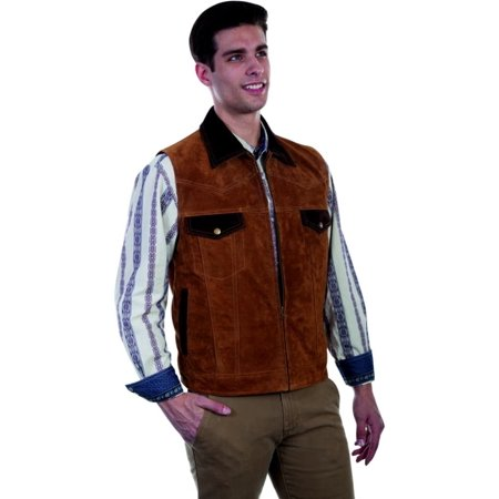 Concealed Zip Pocket - Scully Western Vest Men Concealed Carry Pocket Leather Zip Closure 621