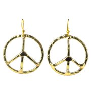 Global Crafts Handcrafted Hammered Brass Peace Sign Earrings (South Africa)