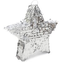 Silver Foil Star Pinata for Kids Birthday, Twinkle Little Star Baby Shower, Outer Space Party Supplies and Decorations, Small 13 x 3 inches