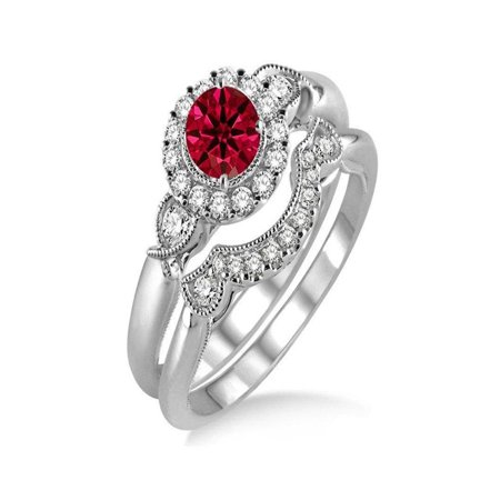 1.25 Carat Ruby & Diamond Antique Three Stone Flower Halo Bridal Set on 14k White Gold (Ruby Diamond Wedding Ring Set for