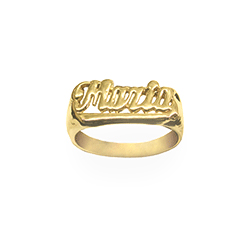 24K Gold Plated Sterling Silver Personalized Name Ring wi...