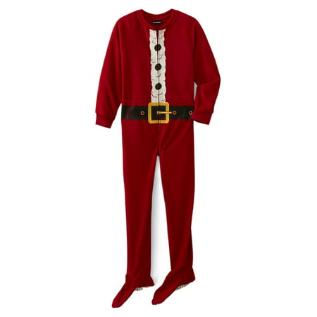 Santa Claus Onesie (Boys Red Fleece Santa Claus Christmas Holliday Pajamas Footed Blanket Sleeper)