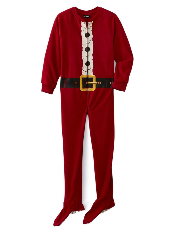 Boys Red Fleece Santa Claus Christmas Holliday Pajamas Footed Blanket Sleeper XS