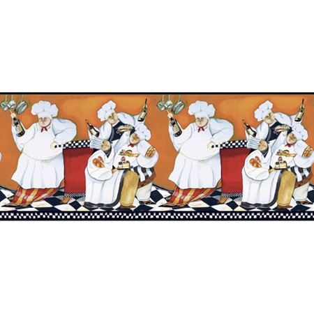 Chef's A Cooking Wall Border, Orange/Red/Black/White