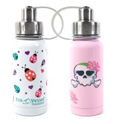 Eco Vessel Twist Kids Triple Insulated Stainless Steel Bottle, 2 Pack, White/Pink