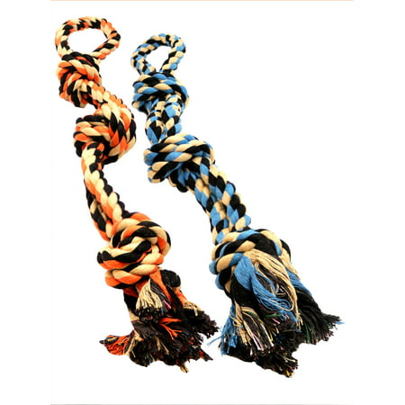 Dog Toys for Aggressive Chewers - Set of 2 XL Dog Rope Toy for Large Breed BK (Cute Toy Dog Breeds)