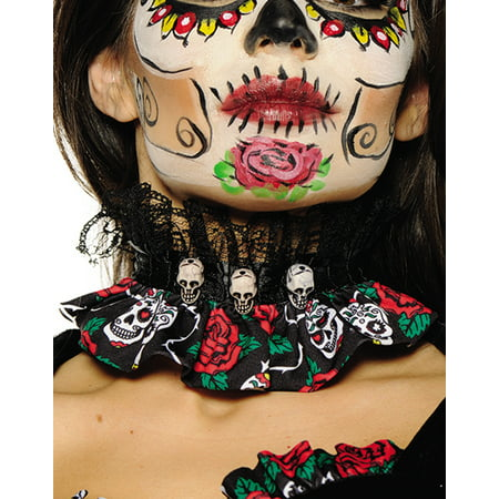 Day Of The Dead Gothic Sugar Skull Red Rose Adult Choker - Day Of The Dead Jewelry