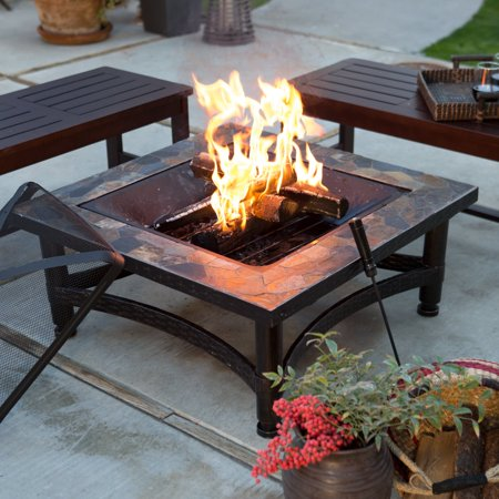 Coral Coast Castle Pines 34-in. Square Slate Fire Pit with FREE Cover ()