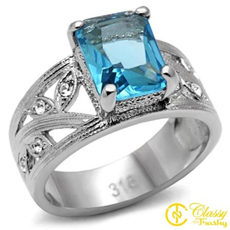 Classy Not Trashy® Size 9 AquaMarine Stainless Steel Synthetic High polished Ring