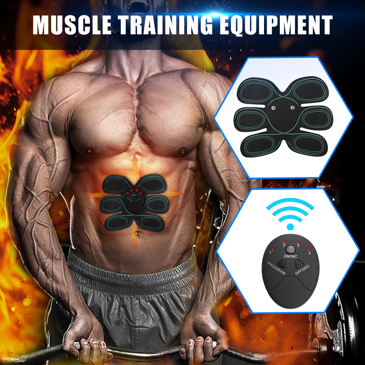 6 Modes Electric Abs Muscle Stimulator Training Body Shape Fit Set Fitness Massage Home Trainer