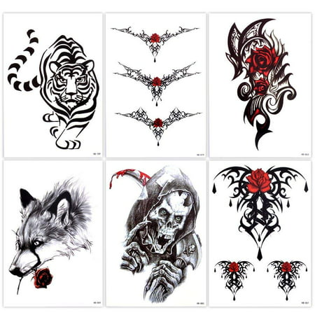 Lady Up 6 Sheets Temp Body Art Temporary Tattoos Fake Tattoo for Women Men Kid Skull Flower Tiger Wolf Waterproof - Skull Rose Tattoo