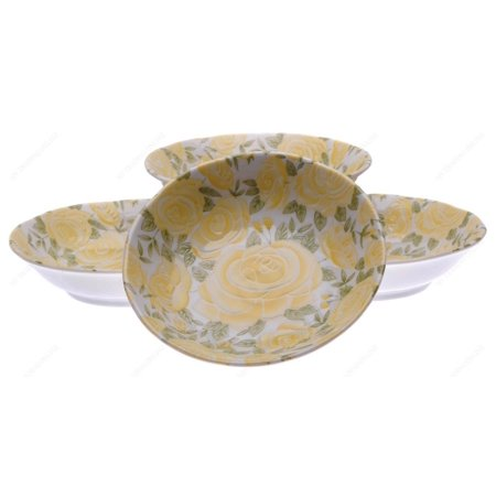 M.V. Trading MV0314B28 Japanese Deep Soup Plate with Yellow Rose Design, 6½-Inch, Set of 4