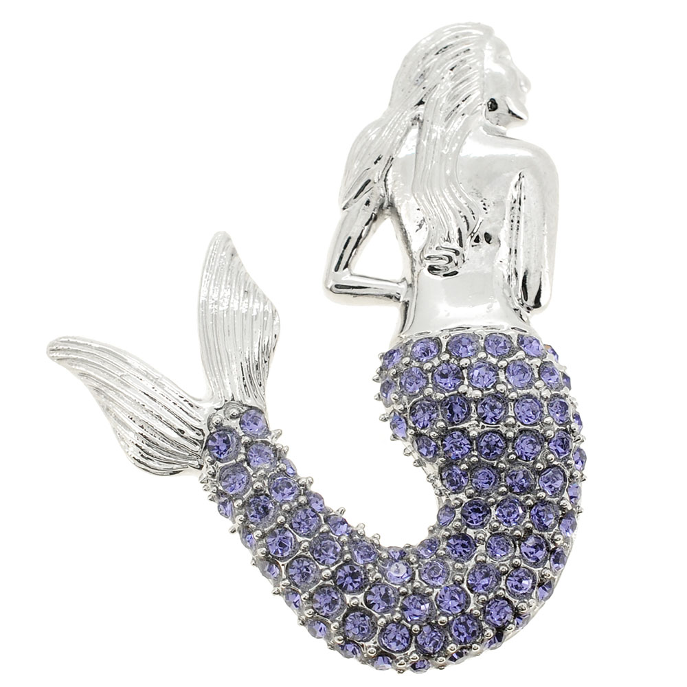 Purple Mermaid Crystal Pin Brooch and Pendant by