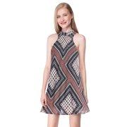 Ever-Pretty Women's Simple Fashion Halter Sleeveless Printed Short Beach Dress 05653 Black US4