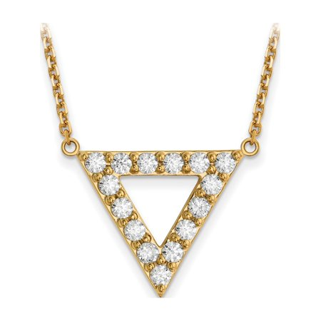 Diamond Triangle Necklace - 14k Yellow Gold A Quality Diamond 20mm Triangle Necklace