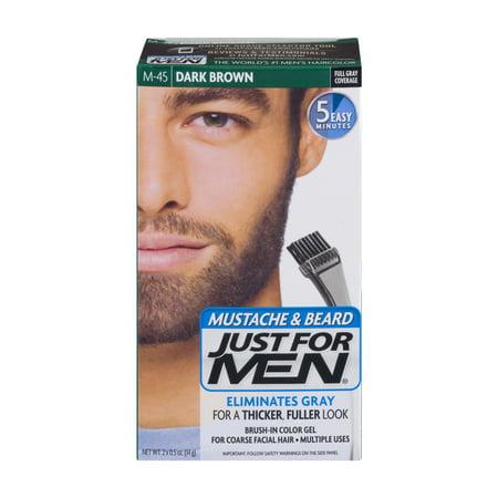 Just For Men Mustache & Beard Brush-In Color Gel M-45 Dark Brown ...