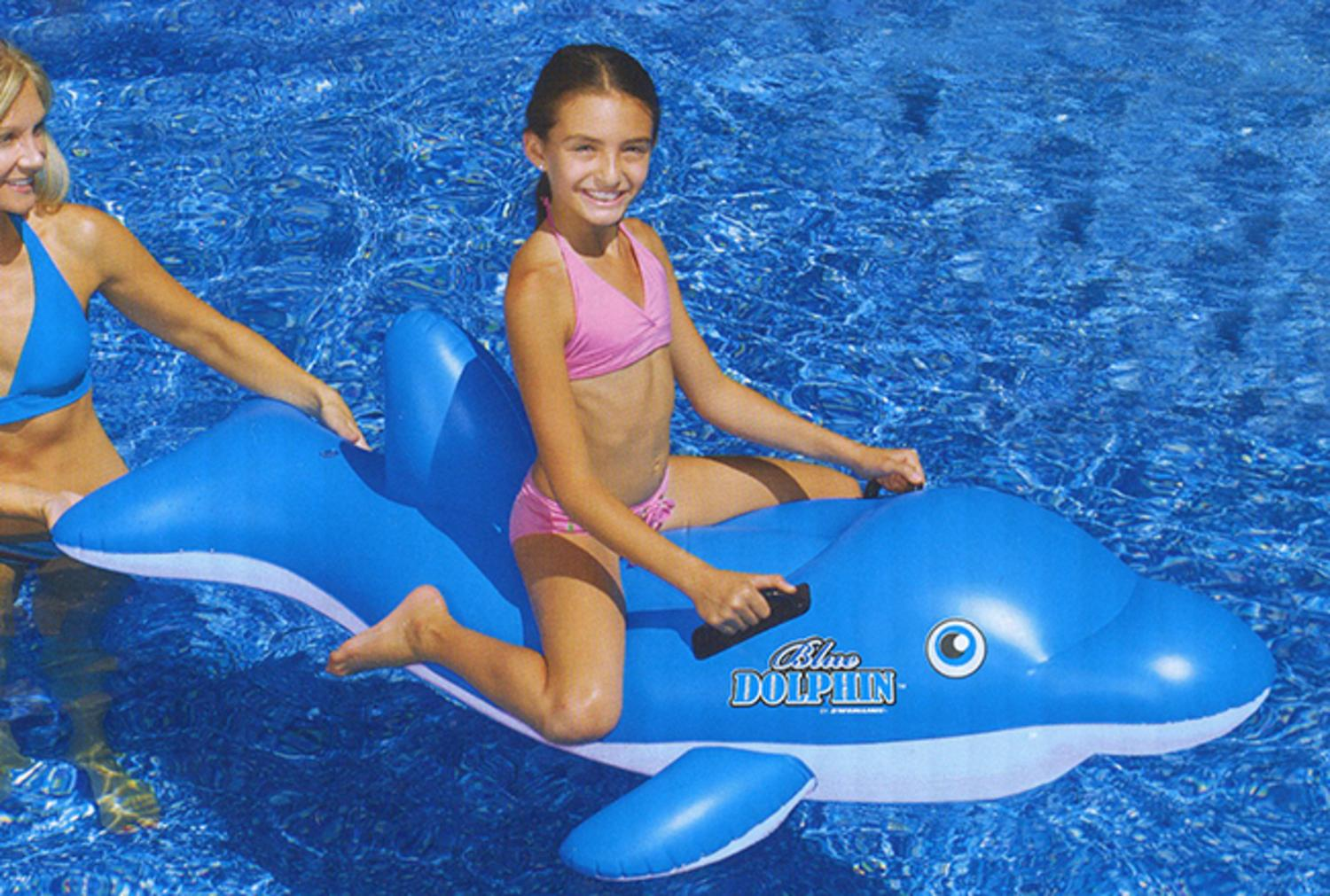 """61"""" Water Sports Inflatable Ride-On Blue Dolphin Swimming Pool Float by Swim Central"""