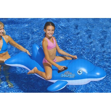 """61"""" Water Sports Inflatable Ride-On Blue Dolphin Swimming Pool Float"""