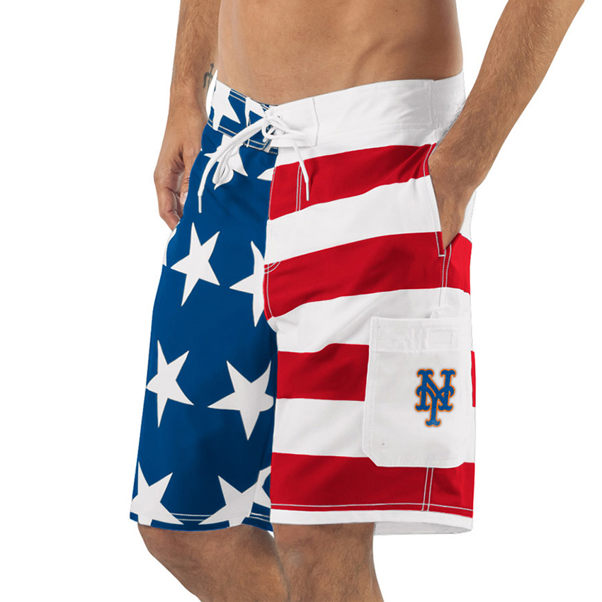 New York Mets G-III Sports by Carl Banks Americana Swim Trunks - Red/Blue