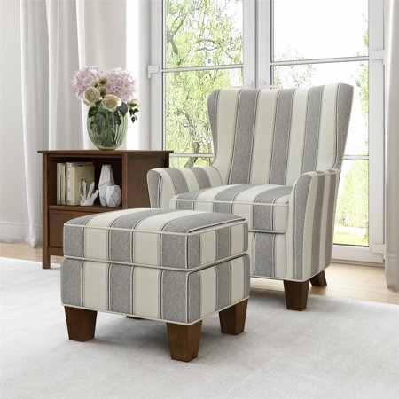 Better Homes & Gardens Grayson Accent Chair & Ottoman Set, Gray Stripe ()