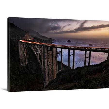 Great Big Canvas   Scott Stulberg Premium Thick Wrap Canvas Entitled Car Trails At Sunset On The Bixby Bridge  Big Sur  California