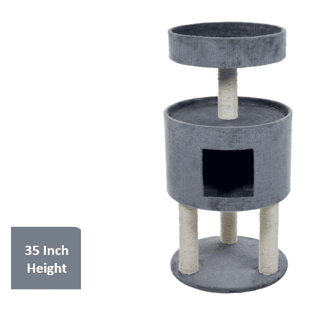 "Kitty Cat Condo with Overhead Balcony, 35"" H, Grey"