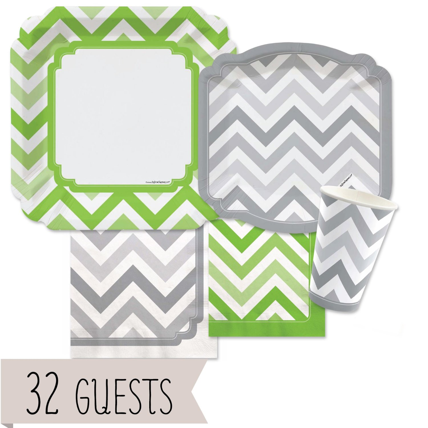 Chevron Green and Gray - Party Tableware Plates, Cups, Napkins - Bundle for 32
