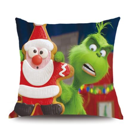 Grinch Fur (Grinch 3D Printing Christmas Pillow Case Satin Skil 45*45cm (18*18 inch) for Sofa)