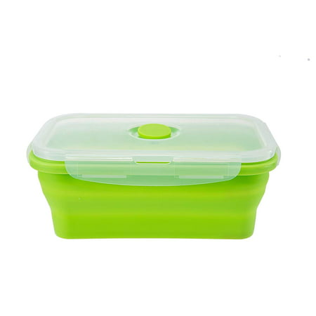 Leak Proof Bento Lunch Box Silicone Collapsible 800ML Food Storage Meal Prep Containers, BPA Free, Microwave Oven Dishwasher Freezer Safe
