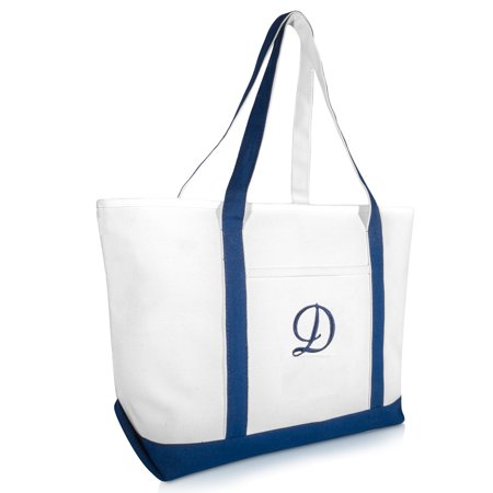 DALIX Quality Canvas Tote Bags Large Beach Bags Navy Blue Monogrammed D