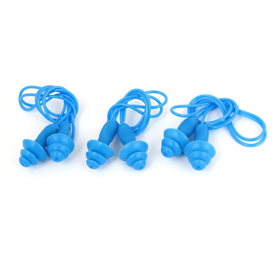 3 Pcs Silicone Round Shaped Wired Waterproof Swimming Earplugs Blue