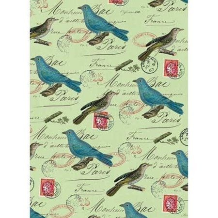 Cavallini Decorative Paper - Blue Birds on Green 20