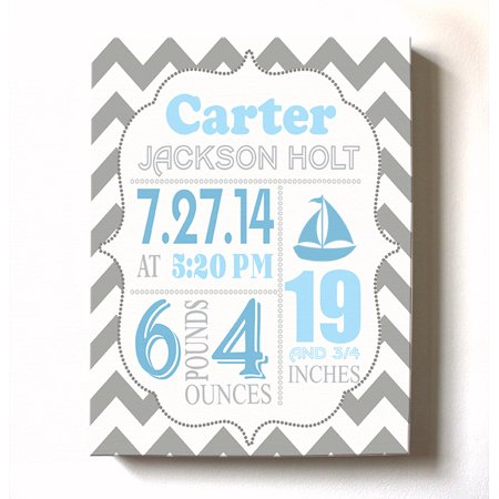 Personalized Canvas Birth Announcement Nursery Decor Gift Sailboat Design Custom Name Date Weight Length Unique Boys S Baby Shower Wall
