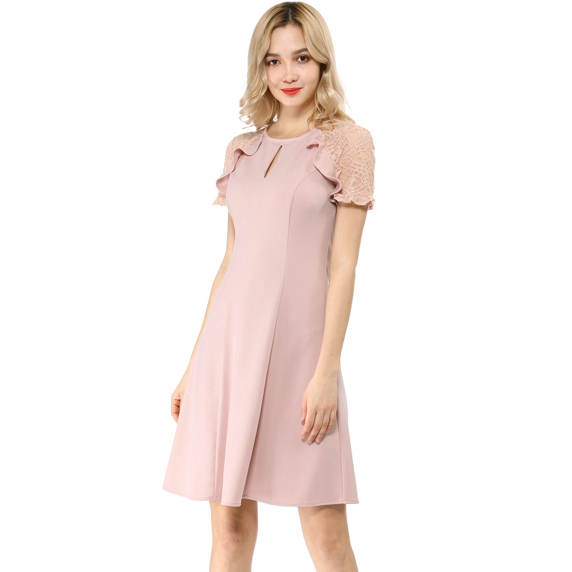 4b1edf2b4 Women's Keyhole Ruffle Lace Sleeve Fit and Flare Dress Pink L (US 14) |  Walmart Canada