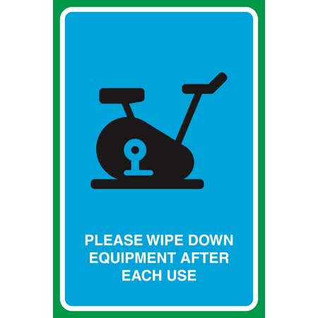 Please Wipe Down Equipment After Each Use Print Gym Picture Business Large Sign, 12x18 ()