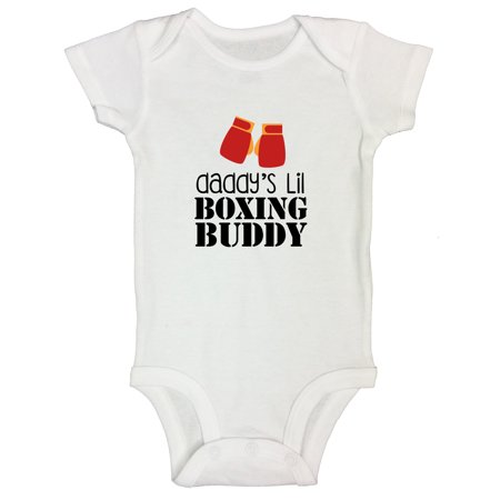 "Boys Funny Onesie ""Daddy Lil Boxing Buddy"" Fighting MMA UFC Kids Shirt - Funny Threadz Kids 0-3 Months, White"