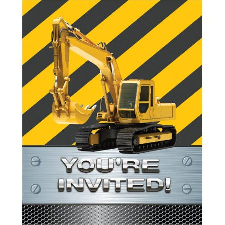 Construction Birthday Zone Invitation Foil (8) Invites Party Supplies