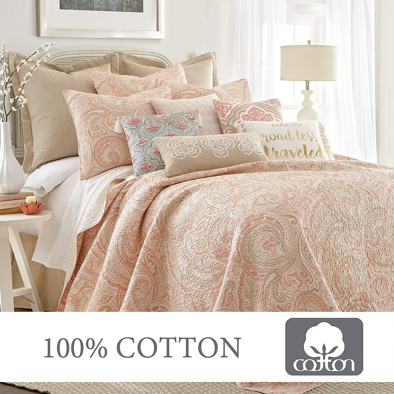 Levtex Home Spruce Coral Quilt Set King Quilt Two King Pillow Shams Paisley Pattern In Coral And Tan Quilt Size 106 X 92 And Pillow Sham Size 36