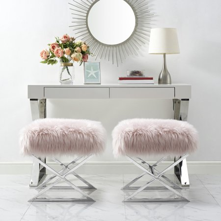 Inspired Home Nicole Faux Fur and Metal Ottoman ()
