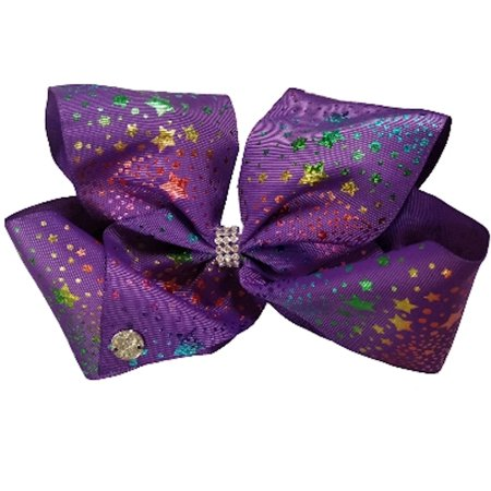 JoJo Siwa Large Cheer Hair Bow (Purple Stars Dots)