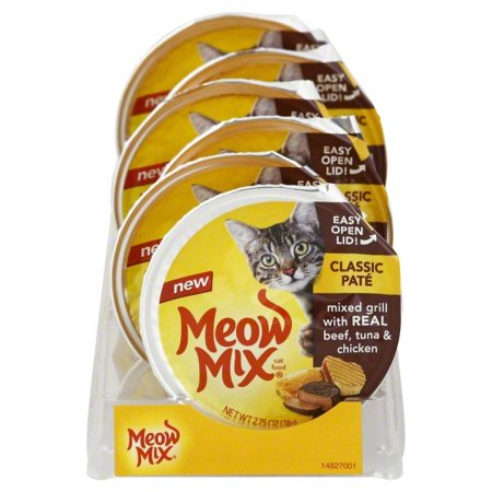 Mix Grill - Meow Mix Classic Pate Mixed Grill With Real Beef, Tuna & Chicken Wet Cat Food, 2.75-Ounce