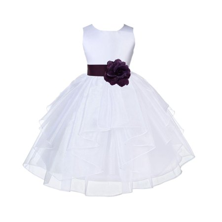Ekidsbridal White Plum Shimmering Organza Christmas Party Bridesmaid Recital Easter Holiday Wedding Pageant Communion Princess Birthday Clothing Baptism 4613S size 6-9 month Flower Girl - Shimmering Plum