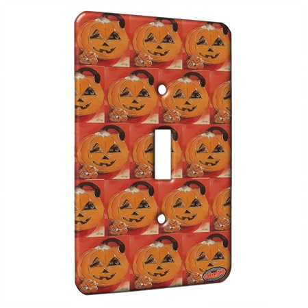 KuzmarK™ Single Gang Toggle Switch Wall Plate - Silly Siamese Stuck in a Pumpkin Halloween Cat Modern Art by Denise Every](Halloween Art Pumpkins)