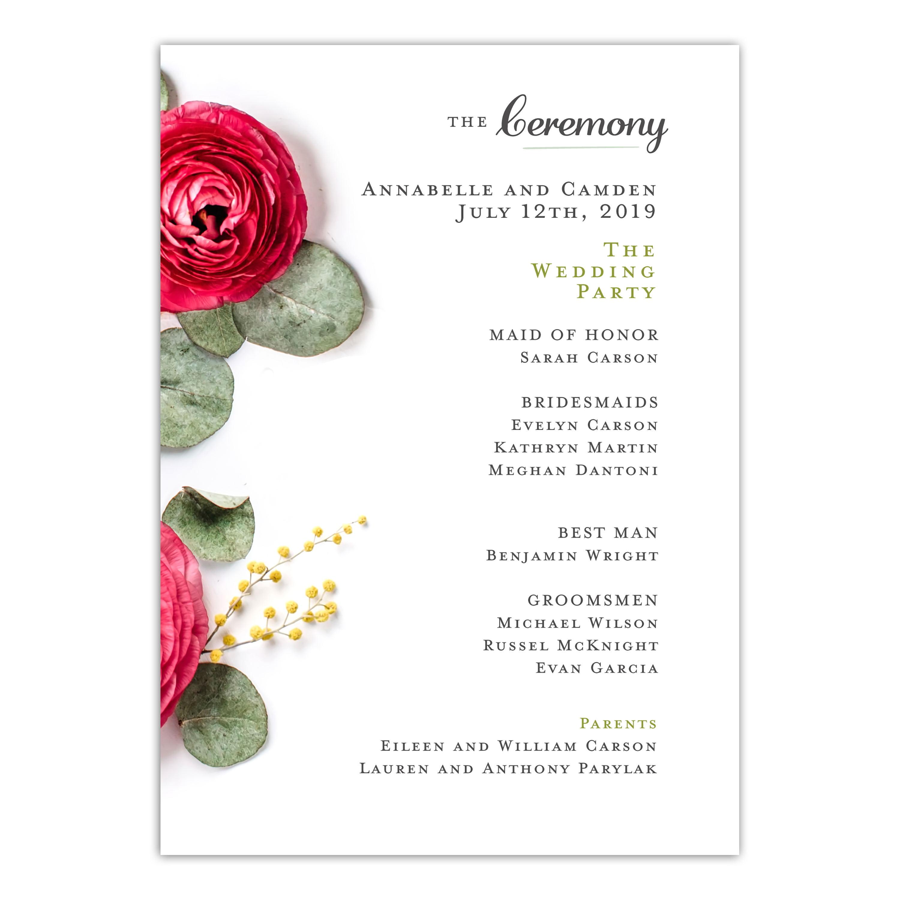 Personalized Wedding Program - Real Love - 5 x 7 Flat