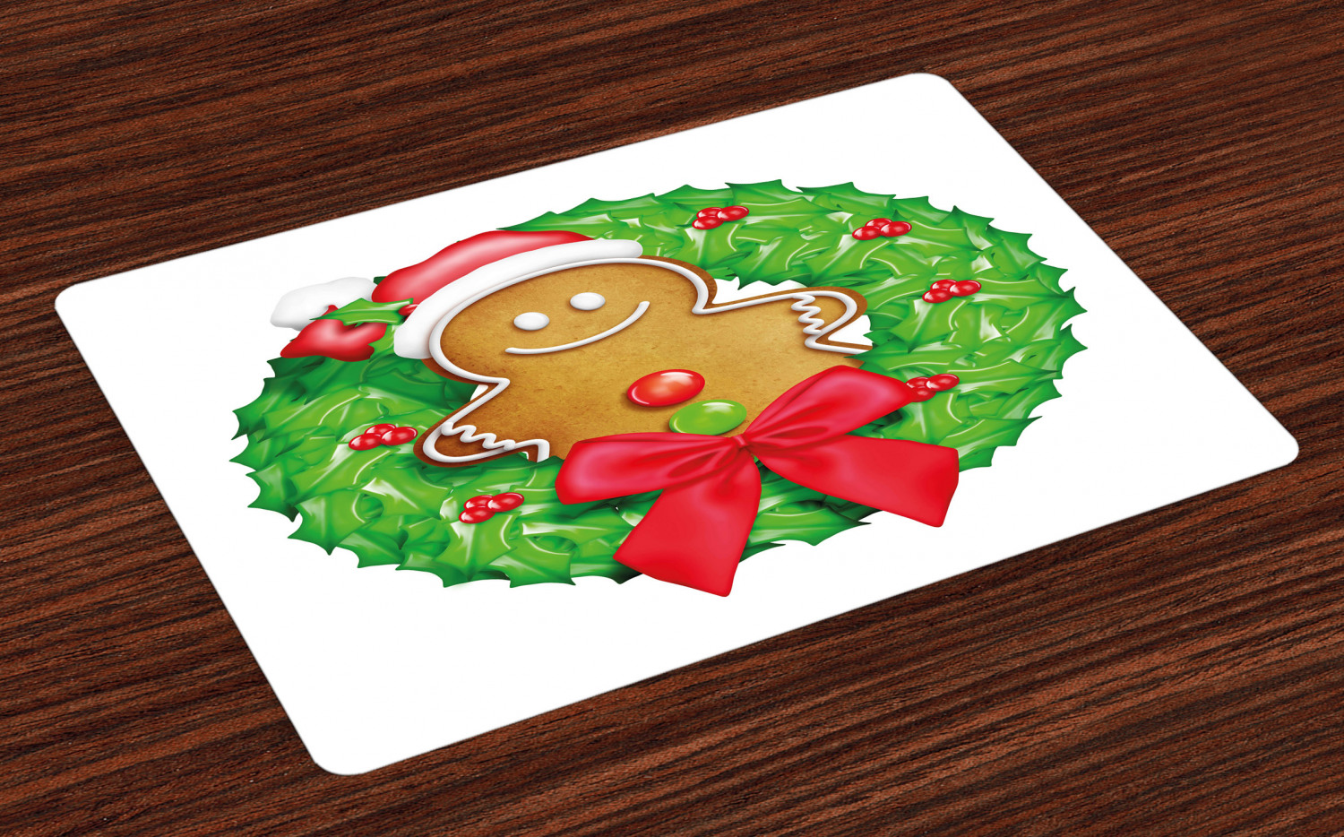Christmas Decor Cloth Placemats by Spoonflower Set of 4 - Christmas Gingerbread Cookies by twix Holiday Placemats