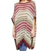 Two By Vince Camuto NEW Purple Striped S/M Medium Poncho Sweater