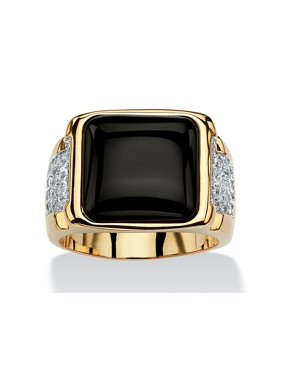 Men's .72 TCW Cushion-Cut Genuine Black Onyx and CZ Cabochon Ring 14k Yellow Gold-Plated