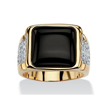 Cut Onyx Ring (Men's .72 TCW Cushion-Cut Genuine Black Onyx and CZ Cabochon Ring 14k Yellow)