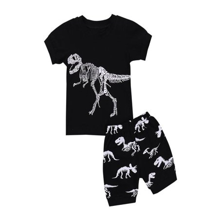 Mosunx Toddler Kids Baby Boys Pajamas Cartoon Dinosaur Print Tops Shorts Outfits Set